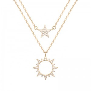 double layered star sun necklace 925silver