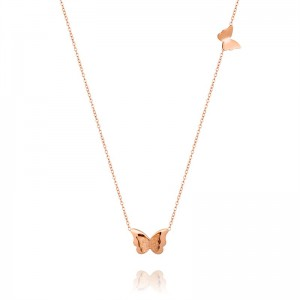 Elegant gold plating butterfly pendant necklace